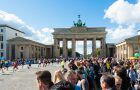 Berlin, Germany - September 27, 2015: Participants of the Berlin Marathon 2015 are finishing at the famous Brandenburg Gate on a lovely autumn day in Berlin, Germany.